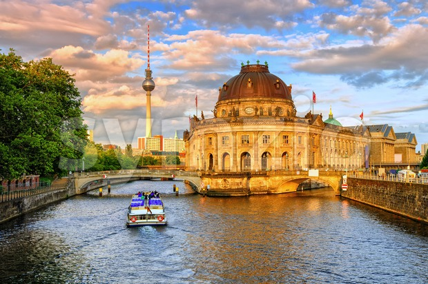 Bode museum on Spree river and Alexanderplatz TV tower in center of Berlin, Germany Stock Photo