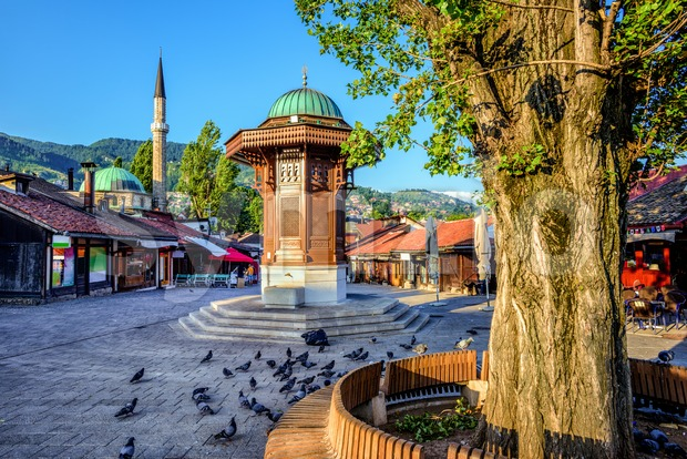 Sebilj fountain in the Old Town of Sarajevo, Bosnia Stock Photo