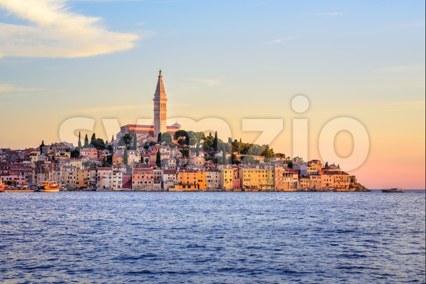 Rovinj Old Town on Istria peninsula on sunset, Croatia Stock Photo