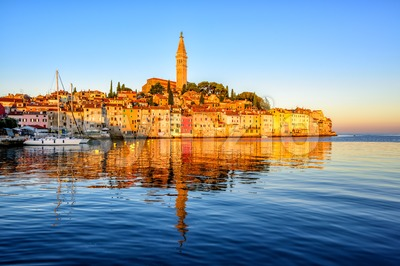 Old town of Rovinj, Croatia, on sunrise Stock Photo