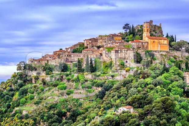 Eze hilltop village is a famous resort and tourist destination on French Riviera by Nice, Provence, France
