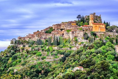 Eze village on hill top, French Riviera, Provence, France Stock Photo