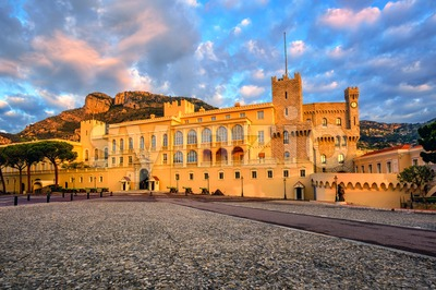 The Prince's Palace of Monaco on sunrise Stock Photo