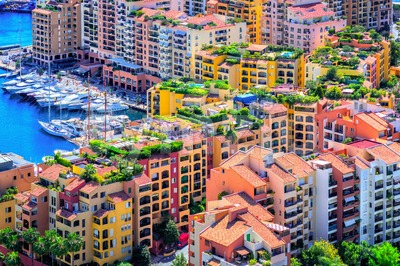Colorful apartment buildings in the city center of Monaco Stock Photo