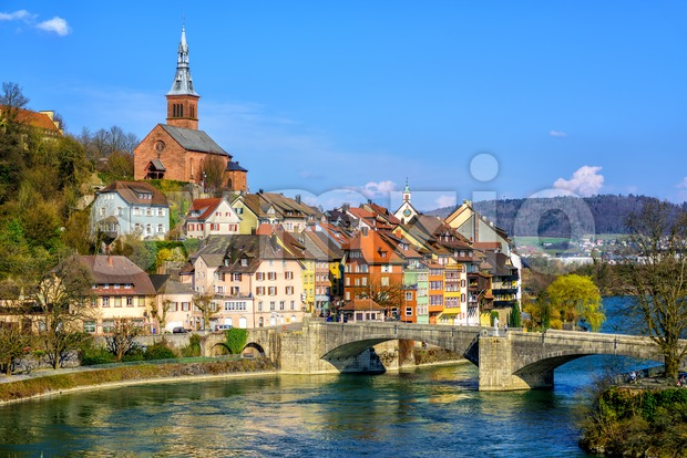 Old Town Laufenburg on Rhine, Germany Stock Photo