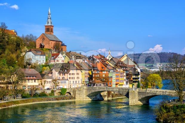 Old Town Laufenburg on Rhine, Germany Stock Photo