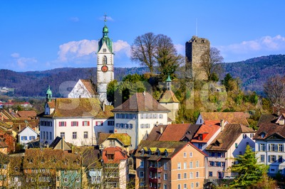 Medieval old town Laufenburg, Switzerland Stock Photo
