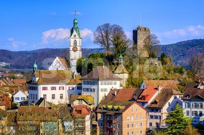Medieval old town Laufenburg, Switzerland Stock Photo