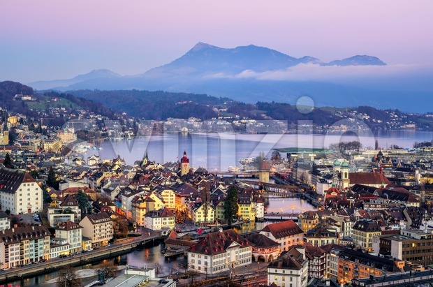 Lucerne town, Lake Lucerne and Rigi Mountain, Switzerland Stock Photo