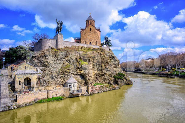 Metekhi St. Virgin Church and King Gorgasali Statue over Kura river, Tbilisi, Georgia