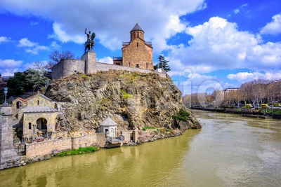 Metekhi Church and Kura River, Tbilisi, Georgia Stock Photo