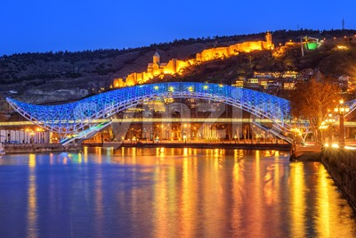 The Europe Bridge and Narikala Fortress, Tbilisi, Georgia Stock Photo