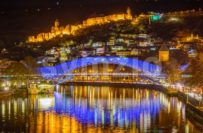 Tbilisi, Georgia, the Old Town and Europe Bridge at night Stock Photo