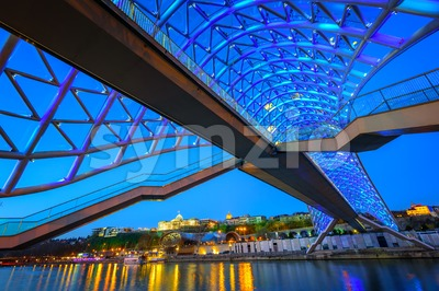 Bridge of Peace, Tbilisi, Georgia, at night Stock Photo