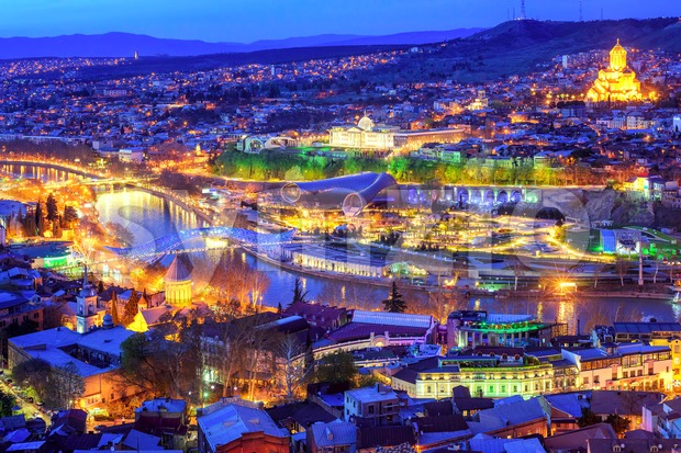 Tbilisi city, Georgia, at night Stock Photo