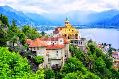 Madonna del Sasso Church, Locarno, Switzerland Stock Photo