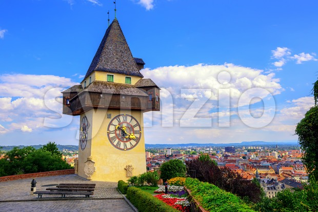 The medieval Clock tower Uhrturm is a symbol of Graz, Austria