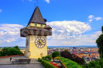 The historical Clock tower Uhrturm in Graz, Austria Stock Photo