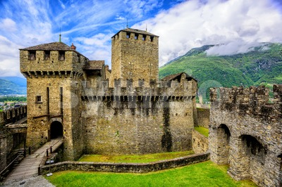 Castello di Montebello castle, Bellinzona, Switzerland Stock Photo