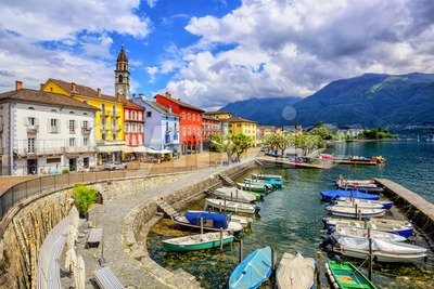 Ascona town on Lago Maggiore, Switzerland Stock Photo