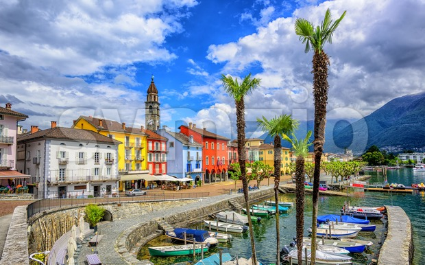 Ascona old town on Lago Maggiore, Switzerland Stock Photo