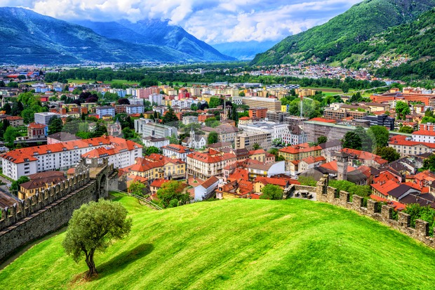 Bellinzona historical Old Town in a valley in swiss Alps, Switzerland