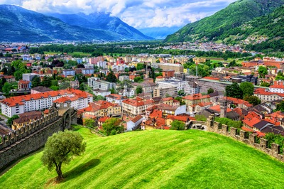 Bellinzona Old Town in Alps Mountains, Switzerland Stock Photo