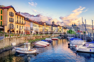 Cannobio Old Town port, Lago Maggiore lake, Italy Stock Photo