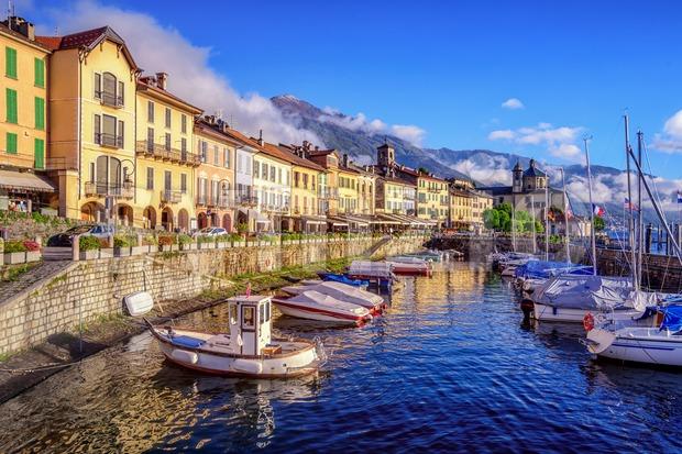 Cannobio is a popular tourist resort on Lago Maggiore lake, Italy