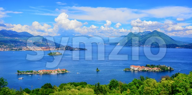 Panoramic view of Lago Maggiore lake, Italy Stock Photo