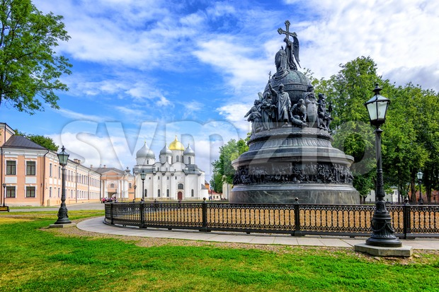 The Millennium of Russia bronze monument in the Novgorod Kremlin with Saint Sophia Cathedral in the background, Russian Federation