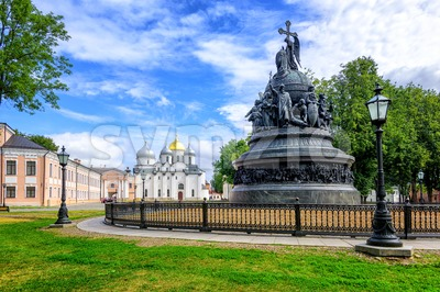 Millennium Monument and St Sophia Cathedral, Novgorod, Russia Stock Photo