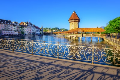 Chapel bridge and Old Town, Lucerne, Switzerland Stock Photo