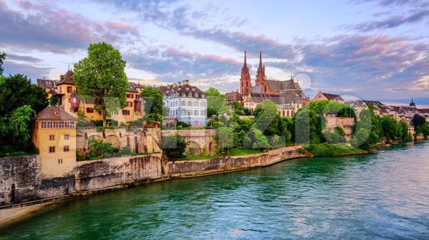 Panoramic view of the Old Town of Basel with red stone Munster cathedral and the Rhine river, Switzerland