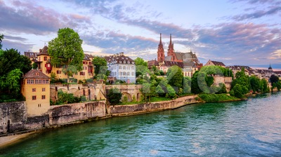 Basel Old Town with Munster cathedral and Rhine, Switzerland Stock Photo