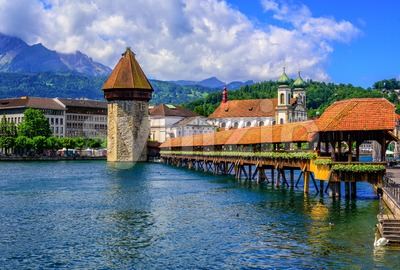 Medieval Old Town of Lucerne, Switzerland Stock Photo