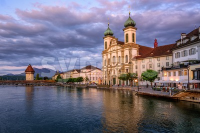 Medieval Old Town of Lucerne on sunset, Switzerland Stock Photo