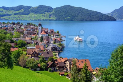 Swiss landscape with Lake Lucerne and Alps Mountains, Switzerland Stock Photo