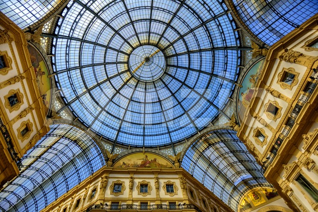 Glass domes of the Galleria Vittorio Emanuele II, Milan, Italy Stock Photo