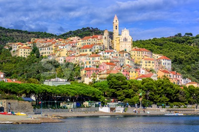 Medieval resort town Cervo on italian Riviera, Liguria, Italy Stock Photo