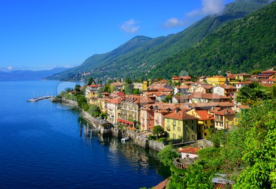 Cannero Riviera old town, Lago Maggiore, Italy Stock Photo