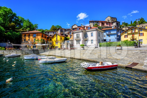 Colorful houses in the old town of Mergozzo, a popular holiday resort on Lago Maggiore lake, Italy