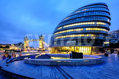 City Hall and Tower Bridge, London, England, UK Stock Photo