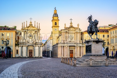 Piazza San Carlo and twin churches in the city center of Turin, Italy Stock Photo