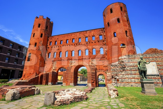 The Palatine Towers ancient roman gate, Turin, Italy Stock Photo