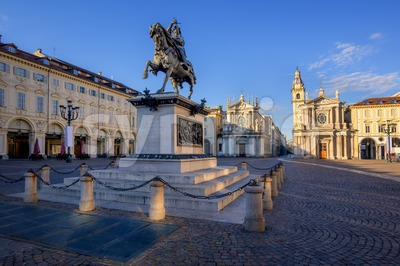 Piazza San Carlo in the city center of Turin, Italy Stock Photo