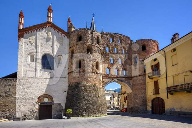 The Cathedral and Savoy Gate in Susa, Susa Valley, Italy Stock Photo