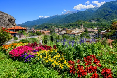 Susa town in the Susa Valley, Alps mountains, Italy Stock Photo
