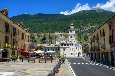 Susa Old Town in Alps mountains, Piedmont, Italy Stock Photo