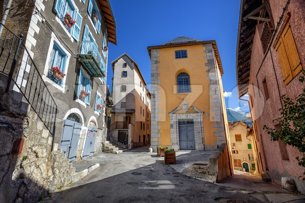 Colorful traditional houses in the Old Town of Briancon, the highest city in France, Provence, Alpes mountains, France